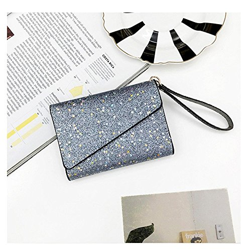 Black fold Lovely Purse Lady Tri Silver Clutch capacity Little Large Color rabbit qq4wtxZCR