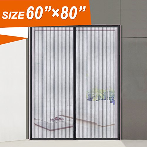"Magnetic Screen Door, Wide Mega Mesh 60 X 80 Fit Doors Size Up to 58""W X 79""H Max with Full Frame Velcro Magnet Double Door Curtain Keep Fly Mosquito Out (60x60 Screen)"