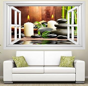 3D Wandmotiv Wellness Feng Shui Fenster Kerze Steine Wandbild ...