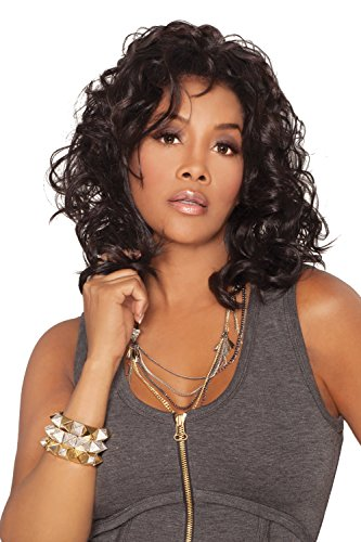 Vivica A. Fox JOANNA-V Synthetic Fiber, Deep Lace Front Wig in Color 1 -
