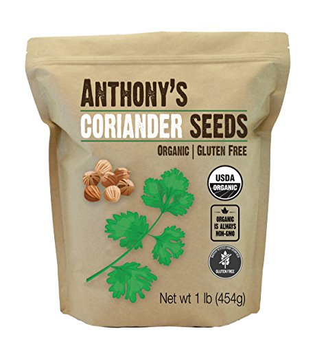 Organic Coriander Seeds (1lb) by Anthony's, Non-GMO and Verified Gluten (Seed Whole Organic Pouch)