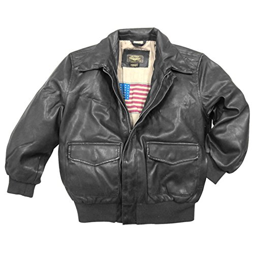 Landing Leathers Big Boys Air Force A-2 Faux Leather Flight Bomber Jacket - Black XS