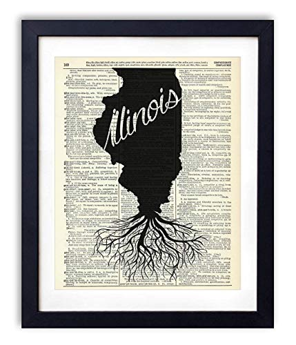 Illinois Home Grown Upcycled Vintage Dictionary Art Print - Framed Roots