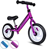 BELEEV Balance Bike(4.3 lbs) Aluminum Alloy, No Pedal Toddler Bike, Adjustable Handlebar and Seat, 110lbs Capacity for Kids Age 18 Months to 5 Year Old (Purple)