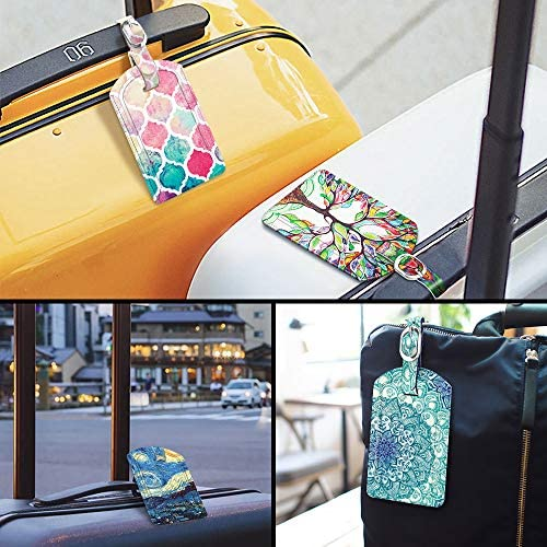 2 Pack Luggage Tags, Fintie PU Leather Name ID Labels with Privacy Cover for Travel Bag Suitcase (Love Tree)