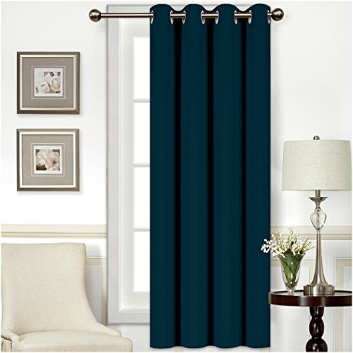 Mellanni Thermal Insulated Blackout Curtains - 1 Panel - Window Treatments / Drapes for Bedroom, Living Room with Silver Grommet and 1 Tieback (1 Panel, 52