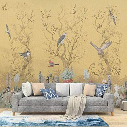 Ljunj ヴィンテージ壁紙花花鳥とカスタムメイドの壁画3Dテレビ背景壁紙生地壁画プリントリビングルームホーム-400X280Cm