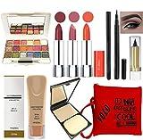 volo All In One Professional Women's Makeup Kit (3 Pcs Lipsticks,1 Eye Shadow, 1 Foundation,1 Eyeliner, 1 Compact, 1 Kajal, 1 Pouch) Set of 9 Pcs (orange)