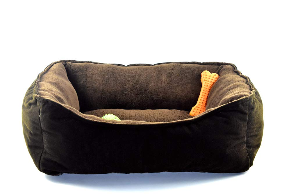 QZX Square Pet Bed Dog Bed Soft Comfy Cat Dog Bed made of cotton, breathable, easy for cleaning for Cats Small Dogs(brown,65  55cm)