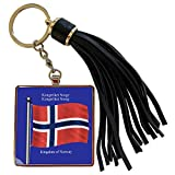 3dRose 777images Flags and Maps - The flag of Norway on a blue background with the Kingdom of Norway in English and Norwegian - Tassel Key Chain (tkc_63190_1)