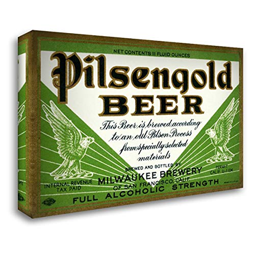 Pilsengold Beer 39x27 Gallery Wrapped Stretched Canvas Art by Vintage Booze ()