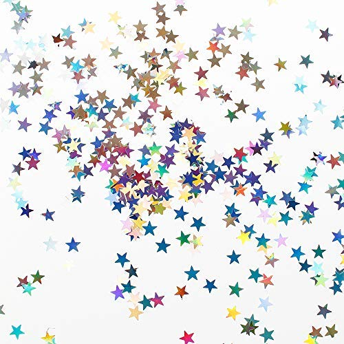 SUNVORE Star Confetti Holographic Stars Glitter Confetti, Great Party Decoration, Wedding Supplies Nail Art, Pack 50g (Size- 6mm)