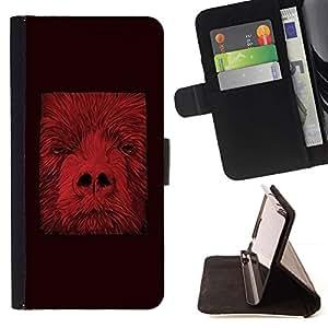 For Sony Xperia Z5 (5.2 Inch) / Xperia Z5 Dual (Not for Z5 Premium 5.5 Inch) Case , Animal abstracto minimalista Rojo- la tarjeta de Crédito Slots PU Funda de cuero Monedero caso cubierta de piel