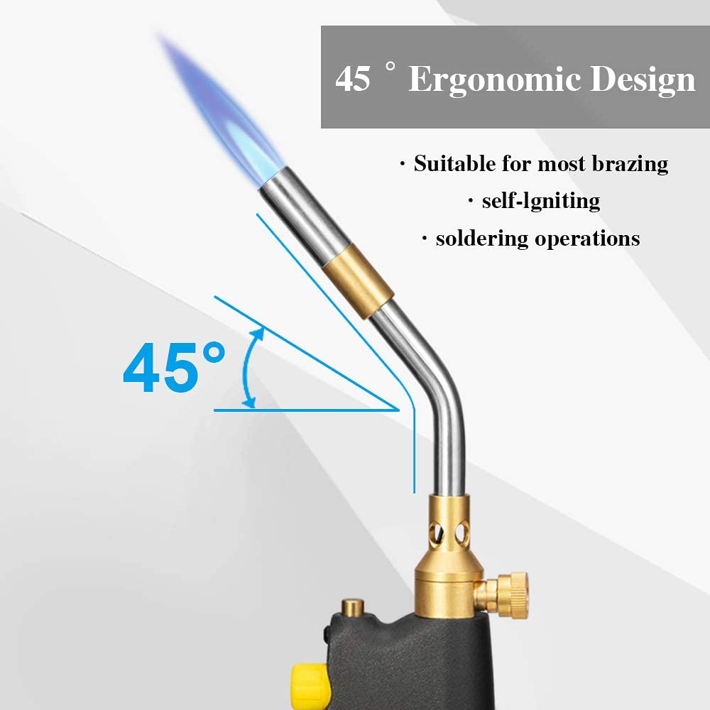 Adjustable Brazing /& Soldering Torch Self-Lighting Propane Torch High Intensity Trigger Start Torch Heavy Duty Gas Welding Torch Head,Use With MAPP//MAP Pro//Propane