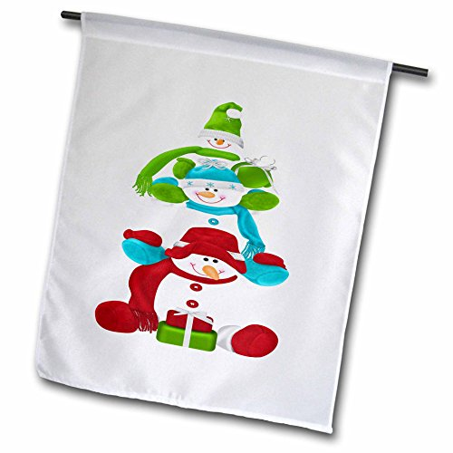 3dRose Anne Marie Baugh - Illustrations - Cute Three Stacked snowmen In Green, Blue, and Red Illustration - 18 x 27 inch Garden Flag (Stacked Presents)