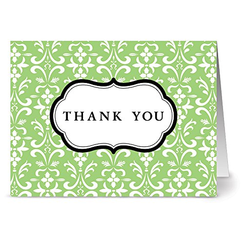 (24 Thank You Note Cards - Damask - Green- Blank Cards - Gray Envelopes Included)