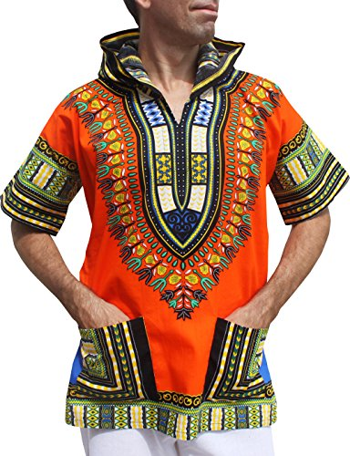 Full Funk Dashiki Light Hoody In Bright Colors Festival Party Shirt Short Sleeve