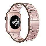 Simpeak Stainless Steel Band Strap for Apple Watch 38mm Series 1 Series 2 Series 3 - Rose Gold