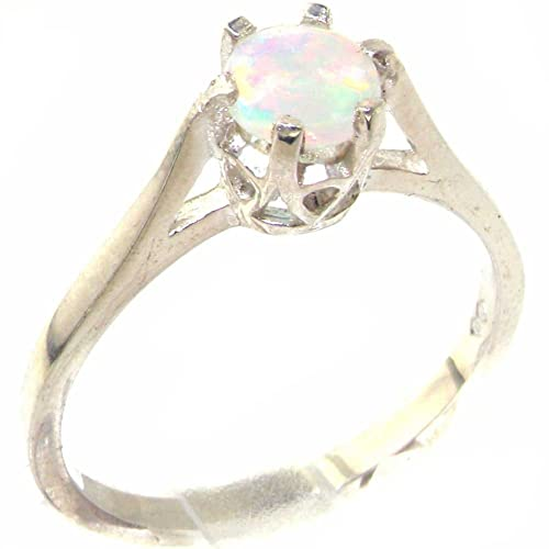 925 Sterling Silver Natural Opal Womens Solitaire Ring – Sizes 4 to 12 Available