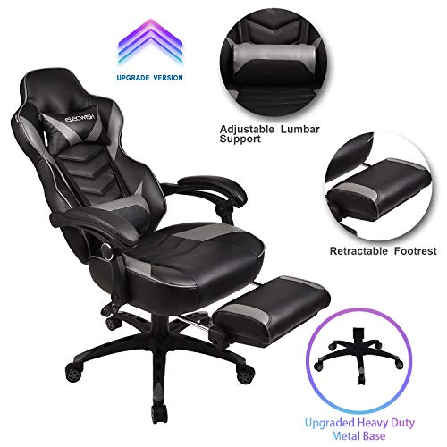 Video Gaming Chair Racing Office – PU Leather High Back Ergonomic Adjustable Swivel Executive Computer Desk Task Large Size with Footrest,Headrest and Lumbar Support(Grey)