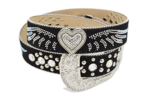 BELTSWEB 11501 Women's Rhinestone Wing and Heart Concho Cowgirl Bling Belt Size 38 Black - Cowgirl Concho