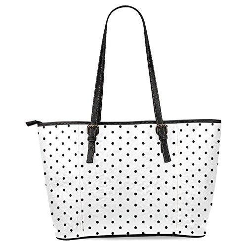 InterestPrint White and Black Polka Dot Women's PU Leather Tote Shoulder Bags Handbags
