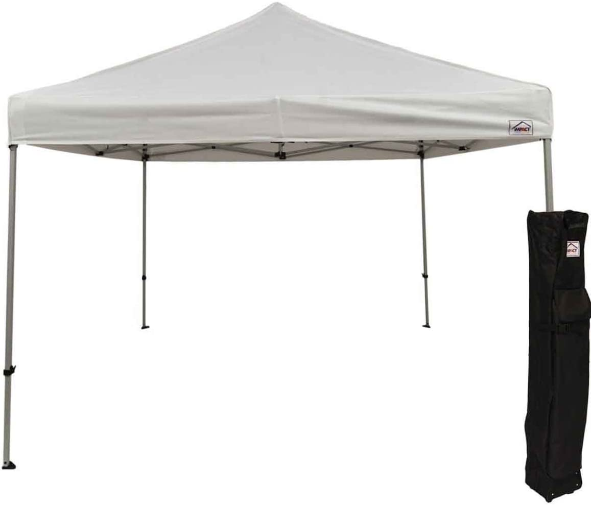 Impact Canopy 10 x 10 Pop Up Canopy Tent, Straight Leg Shelter, Steel Frame, Roller Bag, White