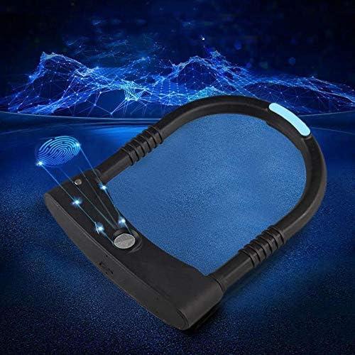 電子ドアロック スマート指紋Uロック自転車スクーターアンチセフトロッカーキーレスアンチ油圧せん断ドアロック充電式防水 電子錠 (Color : Black, Size : Size1)