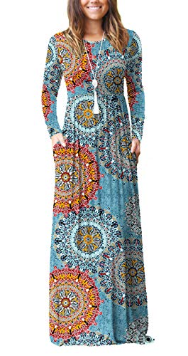 HAOMEILI Women's Casual Long/Short Sleeve Maxi Dress with Pockets