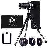 Camera Lens Kit for Samsung Galaxy S6 Edge Plus incl. 12x Telephoto Lens, Fisheye Lens, Macro Lens, Wide Angle Lens, Tripod, Phone Holder, Holder Ring, Hard Case, Velvet Bag and Cleaning Cloth
