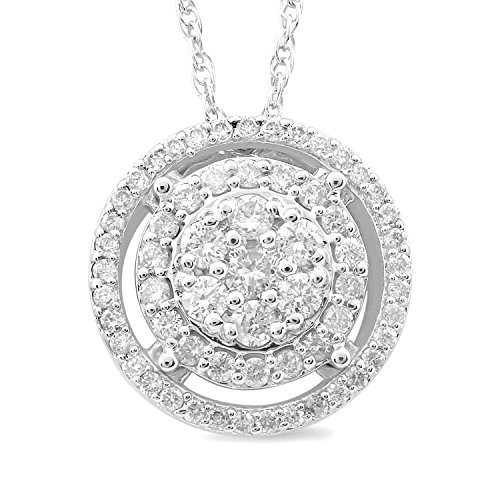 Diamond Pendant Necklace in Sterling Silver with Halo 1/2 cttw