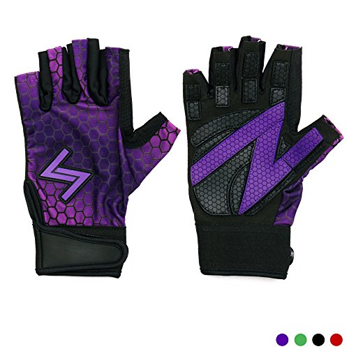 Workout Gloves Women by Handlz | MORE REPS w/Rubber Grip & Extended Fingers | NO SWEAT w/Flexible Dry-Fit Material | Weight Lifting Gloves for Crossfit, WOD, Cross Training Exercises (Purple X-Small) ()