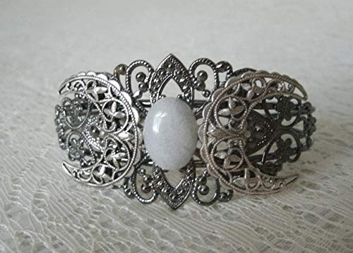 Moonstone Triple Moon Cuff Bracelet, handmade jewelry wiccan pagan wicca witch goddess witchcraft metaphysical (Bracelet Cuff Moonstone)