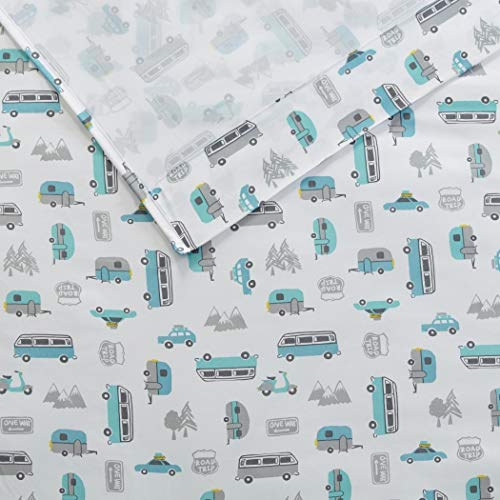 TN 4 Piece Cute Off White Teal Blue VW Bus Sheet Set Queen Sized, Grey Travel Themed Bedding Camping Trailer Woods Road Trip Travelling Inspired Mountains Gray Signs, Microfiber Polyester