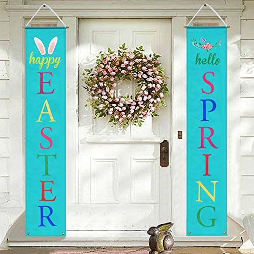 Mosoan Easter Porch Sign - Easter Decorations Outdoor Indoor - Happy Easter & Hello Spring Banner Sign - Easter Home Wall Door Decor