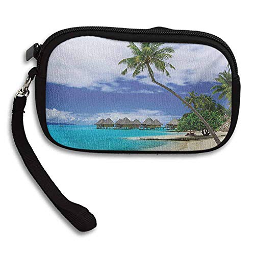 Tropical Women Mini Wallets Water Bungalows of Tropical Resort Bora Bora Island Pacific Ocean Panorama W 5.9