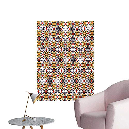 Anzhutwelve Ethnic Art Stickers Traditional Tribal Moroccan Mosaic Middle Eastern Kaleidoscope Vintage IllustrationMulticolor W32 xL48 The Office Poster