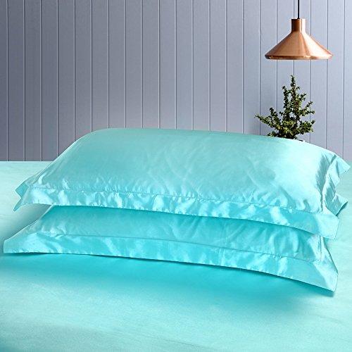 Include Envelopes - Colorful Mart Sea Blue Silk Pillowcase, Include 2 Standard Pillowcases, Envelope Closure, Prevent Side Sleeping Wrinkles, Have Good Dreams