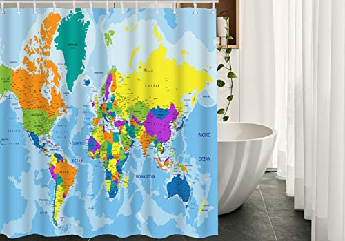 Moslion World Map Shower Curtain Set Geography Global Map Country Ocean Mountains Bathroom Shower Curtain Home Decorative Waterproof Polyester Fabric with Hooks 72x72 Inch Blue