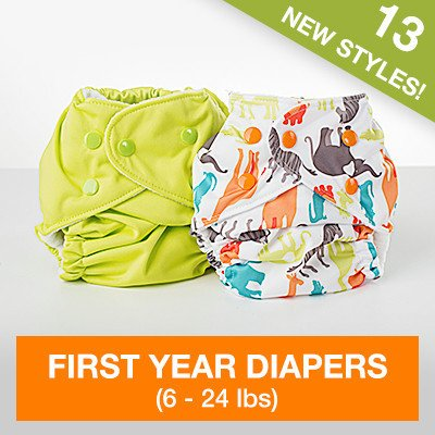 FuzziBunz First Year Adjustable Diaper, Turtle time, 6-24 (Time Turtle)