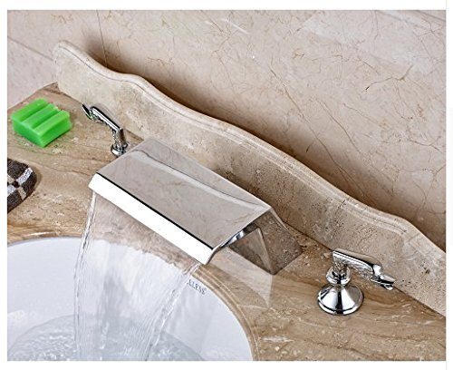 Gowe Chrome Finished Widespread 3pcs Waterfall Spout Bathroom Sink Faucet Deck Mounted Mixer Tap 1