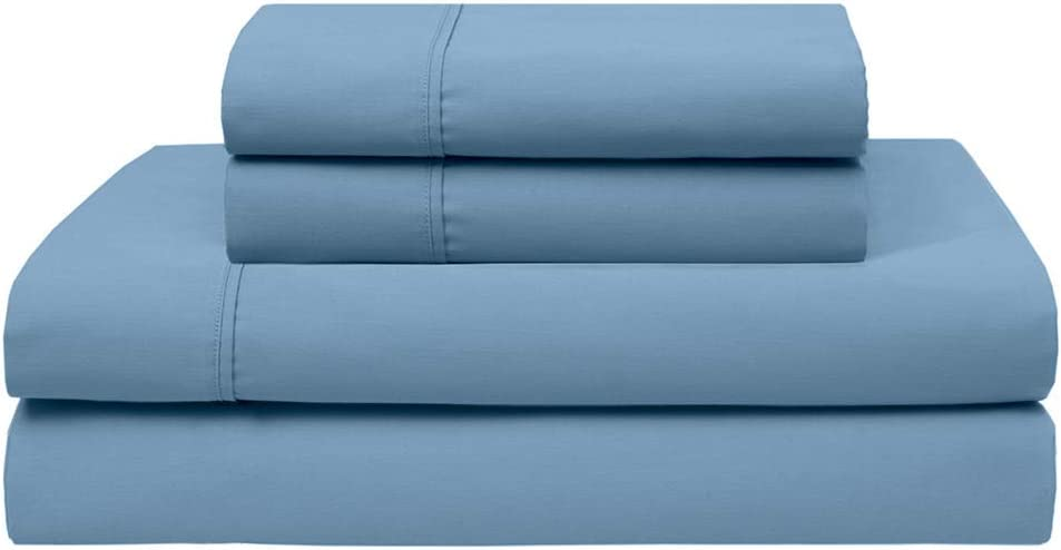 Elite Home Products Inc Wrinkle Free 420 Thread Count Cotton Sheet Set, Denim, Full
