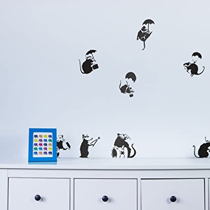 Amazon.com: Banksy Rats Vinyl Wall Art Decal Pack: Home & Kitchen