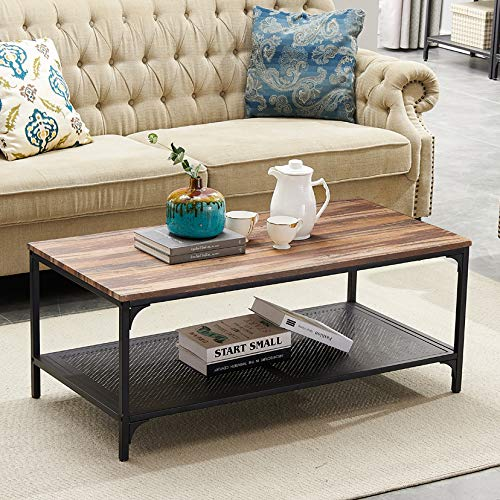 HOMYSHOPY Rectangular Coffee Table, Industrial Cocktail Table with Metal Storage Shelf for Living Room, Vintage Brown, 1-PC -