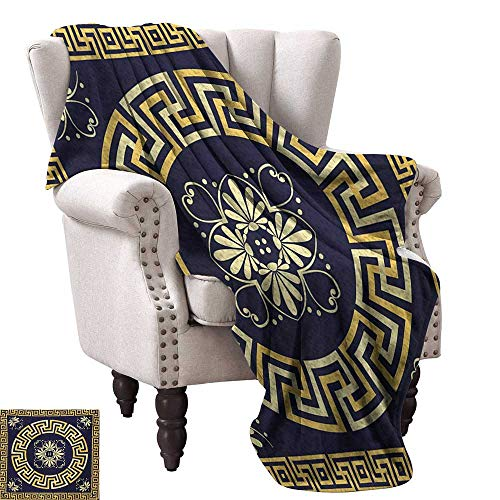 Greek Afghan Throw Blanket - WinfreyDecor Greek Key Home Throw Blanket Meander with Spring Inspired Floral Detail Rich and Retro Entangled Maze Anti-Static Throw 70