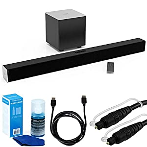 Vizio SB2821-D6 - 28-Inch 2.1 Soundbar System w/ Bluetooth Essential Accessory Bundle includes Soundbar, Optical Toslink 5.0mm OD Audio Cable, High Speed HDMI Cable and Universal Screen Cleaner