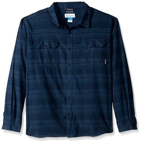 Columbia Men's Flare Gun Flannel Iii Long Sleeve Shirt, Collegiate Navy Stripes Small