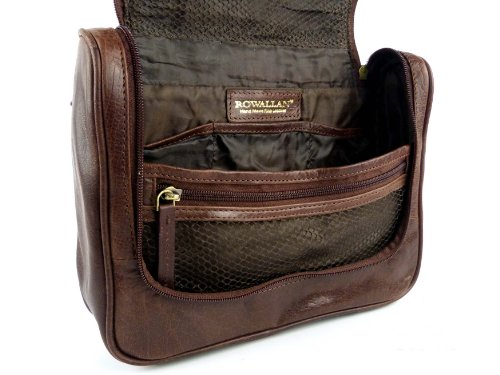 922a9e59e724 Rowallan Mens Vintage Leather Hanging Wash Bag Travel Toiletries Cognac  Colour  Amazon.co.uk  Luggage