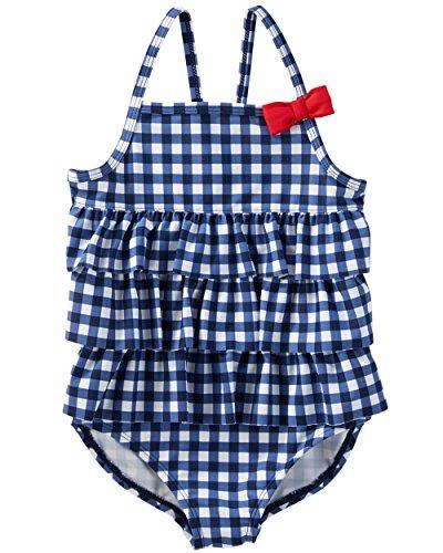 Osh Kosh Girls' Toddler One-Piece Swim, Navy Gingham, 2T - Gingham Girls Swimsuit