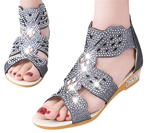 (Gyouanime Low Heel Wedge Sandals Women Crystal Bling Hollow Out Roman Sandals Shoes Wedding Party Flat Sandals Dress Shoes Black)